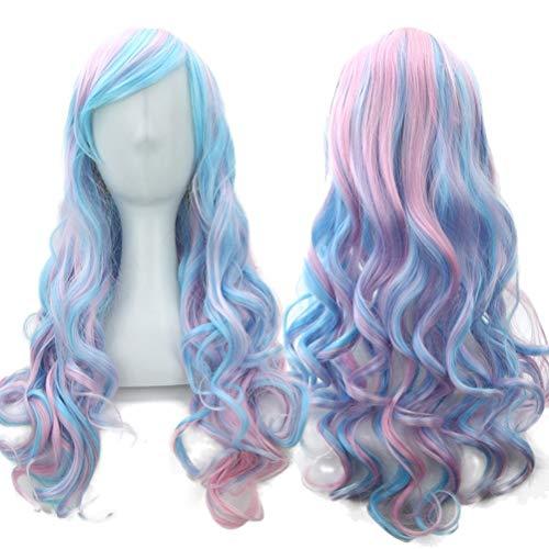 ZXJKU 70cm lange Frauen-Haar-Ombre-Farben-hohe Temperatur-Faser-Perücken-Rosa-Blau-synthetische Haar Cosplay -