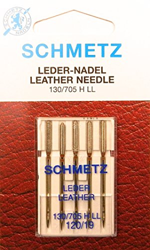 5 Schmetz Leder Nähmaschinen Nadeln (Flachkolben) 130/705 H-LL Stärke 120/19 -