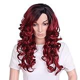 Capelli sintetici lunghi ricci parrucche per le donne come veri capelli parte laterale sintetico resistente al calore Cosplay per data o party 45,7cm vino rosso parrucca bicolore 45,7cm