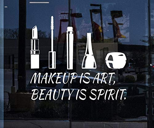 Wandaufkleber Kinderzimmer wandaufkleber 3d Benutzerdefinierte Fenster Aufkleber Beauty Salon Zitat Kosmetik Make-up ist Kunstschönheit ist Geist