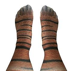 Espoy 3D Print Animal Paw Crew Socks Unisex Novelty Socks Digital Simulated Knee High Socks Gift for Women Men