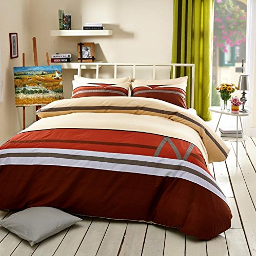 XP N letter printing tri-color stripe mosaic Queen/King size four set bedroom bed quilt cover set bed linen pillow case four , queen