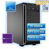 M&M Computer High End Silent Gaming PC, Intel i9-9900K CPU Eight-Core, NVIDIA GTX1070 8GB Grafikkarte, 256GB SSD M.2 (NVMe), 16GB DDR4 3000MHz, Windows 10 Pro
