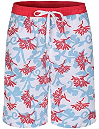 Soul Star Men's Floral Print Swim Shorts - Blue/Red/White - Medium