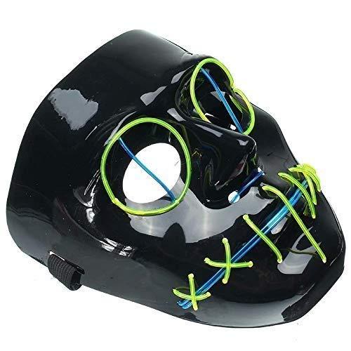 n Leuchtmaske Horror Grimasse Bloody EL Wire Weihnachten Karneval Party Club Bar DJ Glowing Face Mask ()