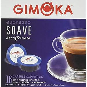 Gimoka Capsule Caffè Compatibili Lavazza a Modo Mio - Decaffeinato, 4 x 16 capsule (totale 64 capsule)
