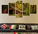 North King Wall Art Hd Frame-freie Malerei Home Dekor Leinwand Malerei fünf Wald Holzhaus ohne Rahmen