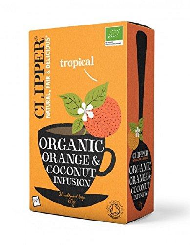 A photograph of Clipper organic orange and coconut