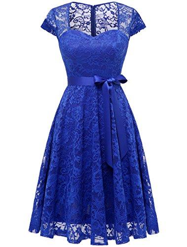 Auplus Brautjungfernkleid Damen Spitzenkleid Knielang Cocktailkleid Partykleider Royalblau XL