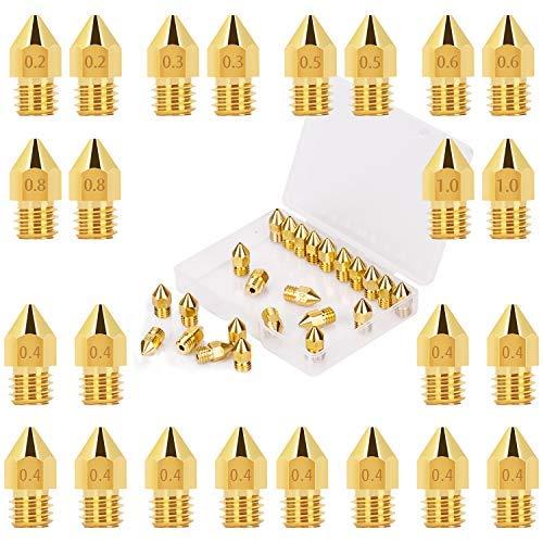 LUTER 24PCS MK8 Extrusor Impresora 3D Boquilla Nozzle 0.2 mm, 0.3 mm, 0.4 mm, 0.5 mm, 0.6 mm, 0.8 mm, 1 mm con caja de almacenamiento gratuita para Makerbot Creality CR-10 Ender 3 5