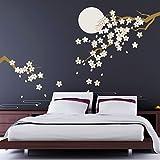 WALPLUS 270 x 220 cm, Motivo: ciliegio in Fiore al Chiaro di Luna, Adesivi da Parete Rimovibili, Colore