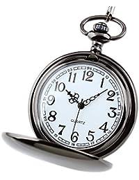 HJKLO Taschenuhr Glattes Edelstahlgehäuse weißes Zifferblatt arabische Zahlen Moderne Taschenuhr Mann Frau Kind Geschenk Halskette Uhr Paar Alter Mann Uhr