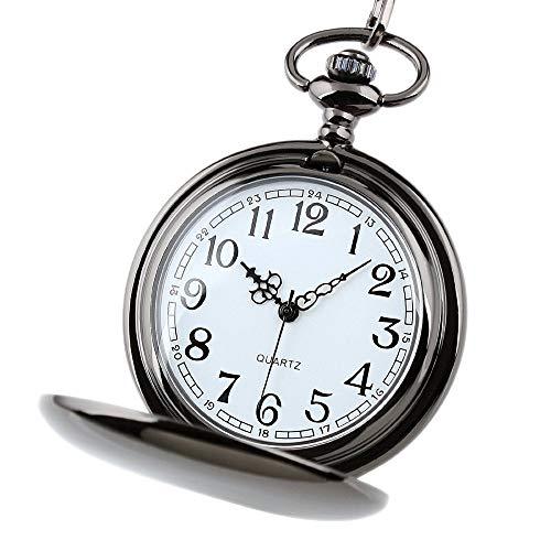 HJKLO Taschenuhr Glattes Edelstahlgehäuse weißes Zifferblatt arabische Zahlen Moderne Taschenuhr Mann Frau Kind Geschenk Halskette Uhr Paar Alter Mann Uhr, schwarz
