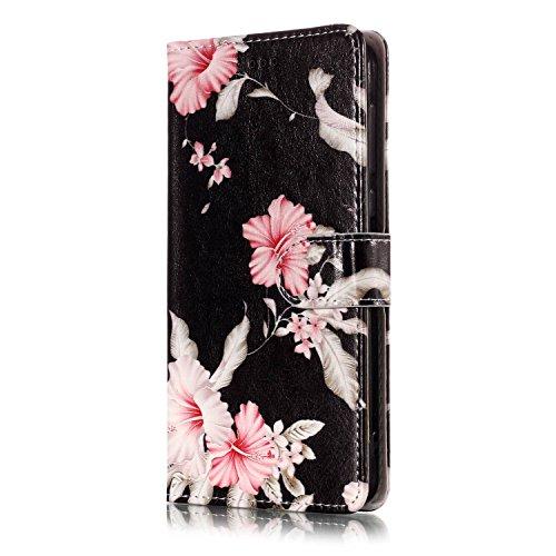Cover Compatibile con Nokia 6.1/Nokia 6 2018 Custodia Portafoglio in Pelle,Rosa Fiori Modello Flip Wallet Ultra Sottile Slim PU Morbido Case Stand Slot Chiusura Magnetico.Azalee
