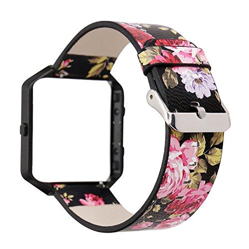 Gimartuk Leder Band für Fitbit Blaze, Floral, Echtem Leder Ersatz Uhrenarmband Armband Band mit Rahmen Klein groß, WF-411, Black Pink+ Black Frame, 5.9-8.8 inch