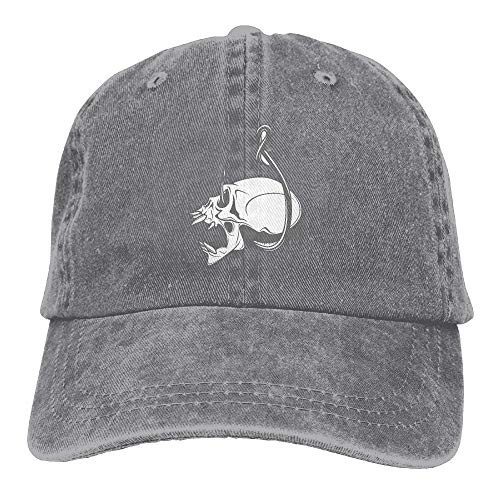 076f8909f ZMYGH Fishing Club Emblem Skull Unisex Washed Adjustable Vintage Cowboy Hat  Denim Baseball Caps
