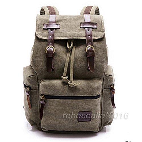 Emo-Tree Damentasche Canvas Rucksack Schultasche Sporttasche Backpack Reisetasche Herren Damen unisex Tasche Umhängetasche (Olivgrün)