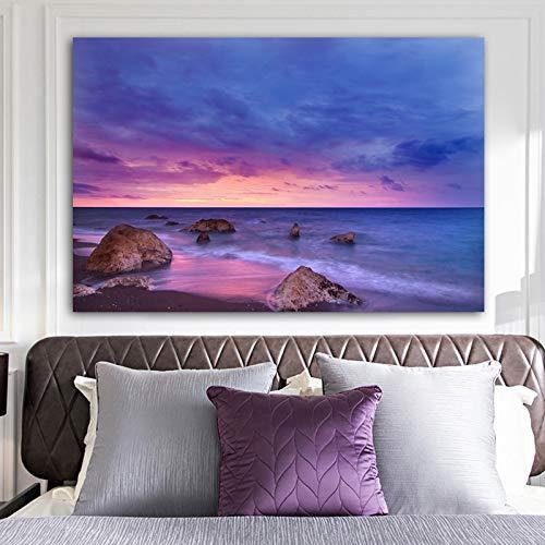 Sonnenuntergänge Natürliche Meer Strand und Felsen Landschaft Poster und Drucke Leinwand Malerei Wandkunst Bild für Wohnzimmer Dekoration R1 30x40 CM (kein rahmen)