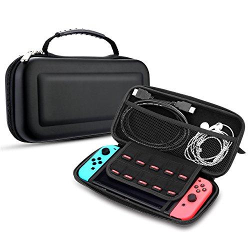 Tasche Nintendo Switch Case, EasyULT Hartschalen Case für Nintendo Switch Mit 10 Eingebauten Spielkartenhaltern,Cover / Hülle / Schutzhülle für Nintendo Switch Konsole & Accesoires(Schwarz) (Tasche Große Solide)