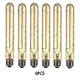 OUGEER 6er Edison Vintage Röhrenlampe E27 4W T30-225 Reagenzglas Flöte Glühlampe Rohr,AC 220-240V,E27 T30 LED Filament Glühbirne Warmweiß(2300K)