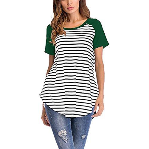 MCYs Damen Kurzarm Streifen Rundhals Top Bluse Patchwork Lose Casual T-Shirt Sommer Beiläufige Oberteil Hemd Tank Top (M, Grün) (Perlen Mit Seiden-camisole)