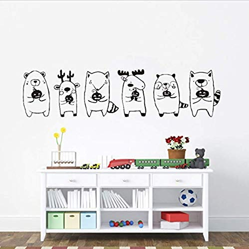 Click to open expanded view 67X16cm Halloween Cute Animal Babies Holding Pumpkin Wall Stickers for Kids Room DIY Wall Decals Party Halloween Decoration Accessories (Spiele, Halloween Party Kids)