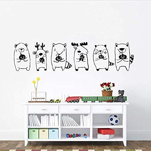 ebende Wandtattoos wasserdichte Wandtattoos Klicke zum öffnen, vergrößerte Ansicht 67X16cm Halloween Cute Animal Babies Holding Kürbis Wandtattoos für Kinderzimmer DIY ()