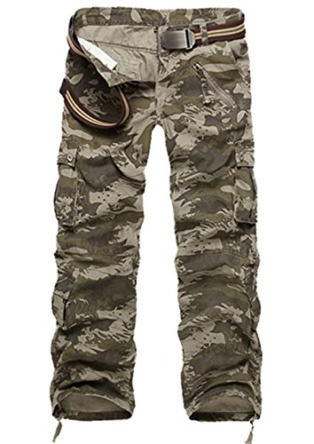 LANBAOSI Hommes durables Poches Multi/Pantalons Camo Cargo Solides