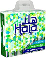 Hala Face Tissues, 180 Sheets, 2 Plies, 10 Packs, TF72PL1810R11