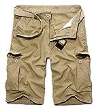 ZKOO Eté Pantalon Court Hommes Cargo Shorts Bermuda Travail Shorts Pantacourt Avec Multi Poches (SANS CEINTURE)
