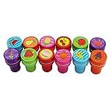Lalang 12pcs Tampons à encre auto-encrage les enseignants cadeaux timbres jouets stickers enfants fruit tampon encreur