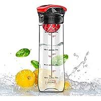 Artoid 800ml Infusión de Frutas Botella de Agua para Deportes Con Marcador de Tiempo y Medidas - Innovador Infuser, Sin BPA