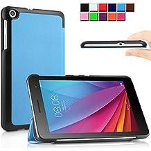 Infiland Huawei MediaPad T1-701W Funda Case-Ultra Delgada Tri-Fold Smart Case Cover PU Cuero Smart Cascara con Soporte para Huawei MediaPad T1-701W 8GB (7.0 pulgadas) Tablet-PC(Azul Claro)