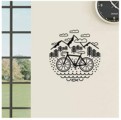 jqpwan Fahrrad und Berge Wandtattoo Radfahren Kies Fahrrad Vinyl Wandaufkleber Outdoor Radfahren Wand Decor 56 * 56 cm