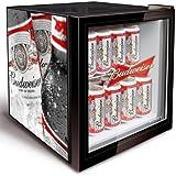 Budweiser Mini Fridge | Bottle Design Husky HM134-EL Budweiser Glass Fronted Fridge - Bud Minifridge