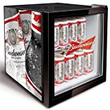 Budweiser Mini Fridge | Bottle Design Husky HM134-EL Budweiser Glass Fronted Fridge - Bud Minifridge