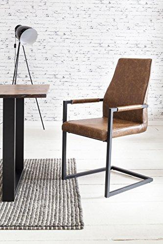 SalesFever 2er Set Stilvoller Armlehnstuhl Giada in Hellbraun, Stuhl in elegantem Design, Esszimmerstuhl mit Kunstleder bezogen, schwarz lackiertem Fuß - Designer Leder Stühle
