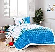 Kids 3Pcs Compressed Comforter Set,Single Size, Funny Shark