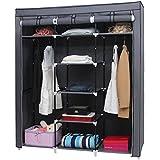 Kendan Summerby - Armario triple de lona plegable, con estantes y barra, con perchas para abrigos gratis, color gris