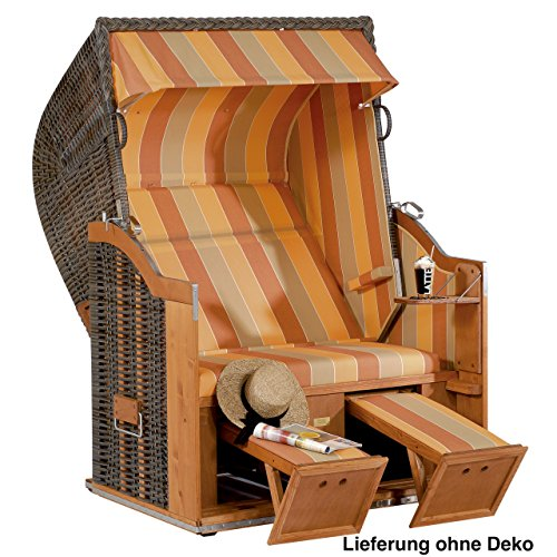 Strandkorb Classic 2-Sitzer Halbliegemodell cappuccino/terracott