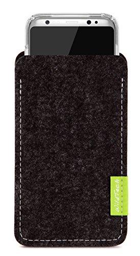 WildTech Sleeve für Samsung Galaxy S9 / S8 (5,8 Zoll) geeignet für Case (extra breit) Hülle Tasche aus echtem Wollfilz (Handmade in Germany) - Anthrazit