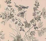 Vliestapete Rasch Textil Rosemore Blumen Vögel altrosa 210002