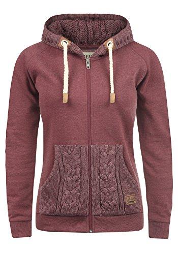 DESIRES Matilda Damen Sweatjacke Kapuzen-Jacke ZIp-Hoodie aus hochwertiger Baumwollmischung, Größe:M, Farbe:Wine Red Melange (8985)