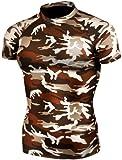 JustOneStyle prendre cinq Men's 063 Skin Cuissard de Compression Base couche T-Shirt à manches courtes pour homme Motif camouflage - Multicolore - Medium