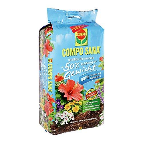 Compo 22202 Sana Qualitäts Blumenerde 50{eaeba176df1ad6db18fa4bdfdd61deffd55ffe9d0e9ce3e1763d15cbb0dcc49f} weniger Gewicht 60 L