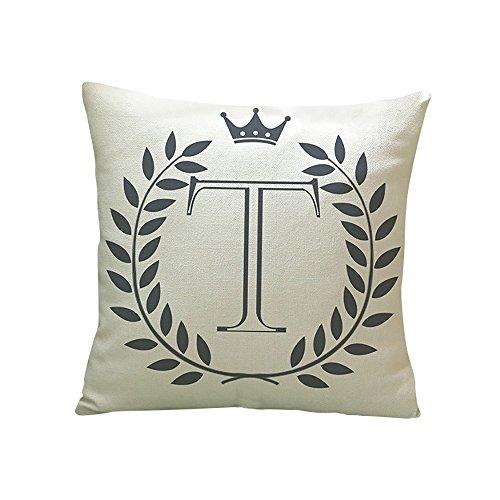 Moginp Kissenbezug,Buchstaben Muster Baumwolle Leinen Kissenhülle Dekokissen Fall Sofa Home Decor (T)