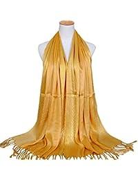 HITSAN INCORPORATION LASPERAL Women Long Fringed Gold Cotton Scarf Fashion  Solid Scarf Beach Bikini Swimwear Cover 47c5442d6f5