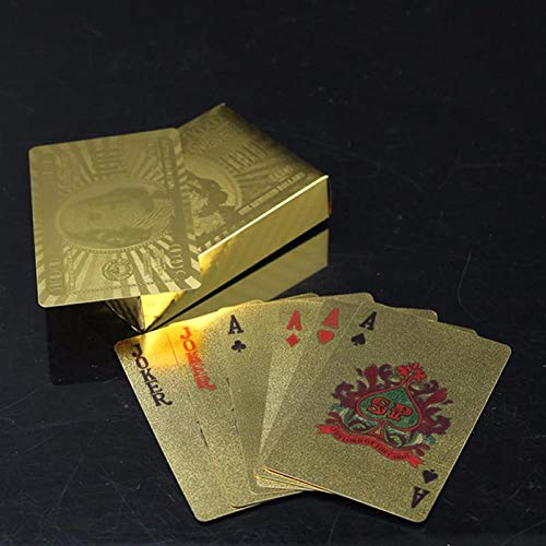 PaxMore Gold Plated Playing Cards for Magic, Poker, Teen Patti, Night Out Fun, Time Pass, Build Numerical Knowledge, Develop Brain Skills (Golden)