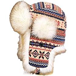 Insun Unisex Chapka Bordure en Fourrure Chapeaux Tricoté Bonnet Aviateur d'hiver Chasse Casquette pour Adultes et Enfants Multicolore 3 S (Chapkas circonférence:52cm)
