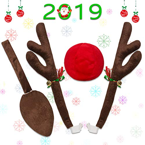 Minetom Rentier Auto Rudolf für Auto Rentier kostüm weihnachtsdeko für Truck Van SUV mit Schwanz 43cm Braunes Rentier-Geweih für den Kühlergrill Ren Rote und Braunes Schwanz